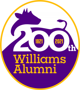 logo with cow and inscripton that states 200th Williams Alumni with dates of 1821 to 2021
