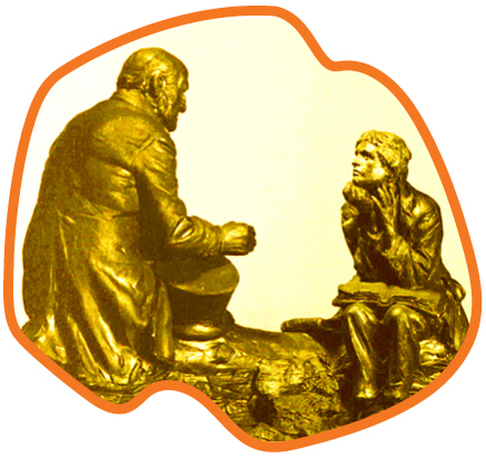 Sculpture depiction of Mark Hopkins at one end of the log with a student at the other