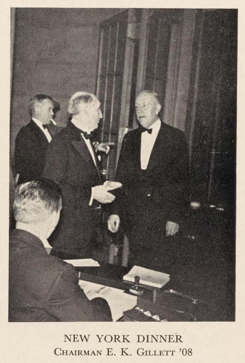 A black and white photo of E. K. Gillett at the 1940 New York City reunion dinner.