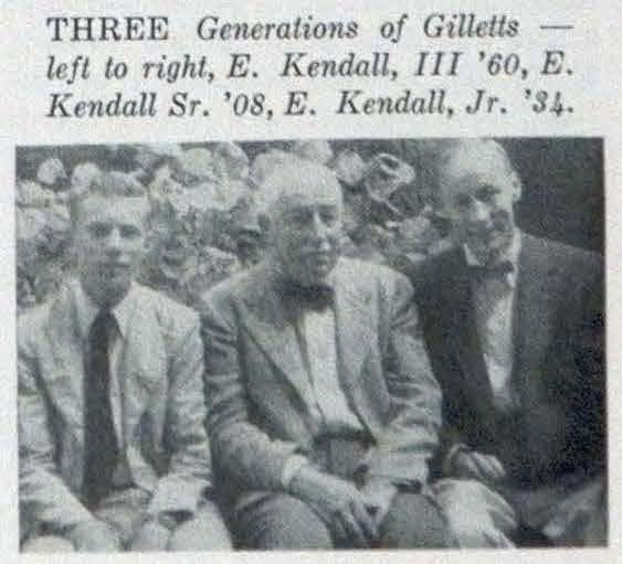 A clipping from a 1957 Alumni Review shows E. Kendall Gillett with his son and grandson.