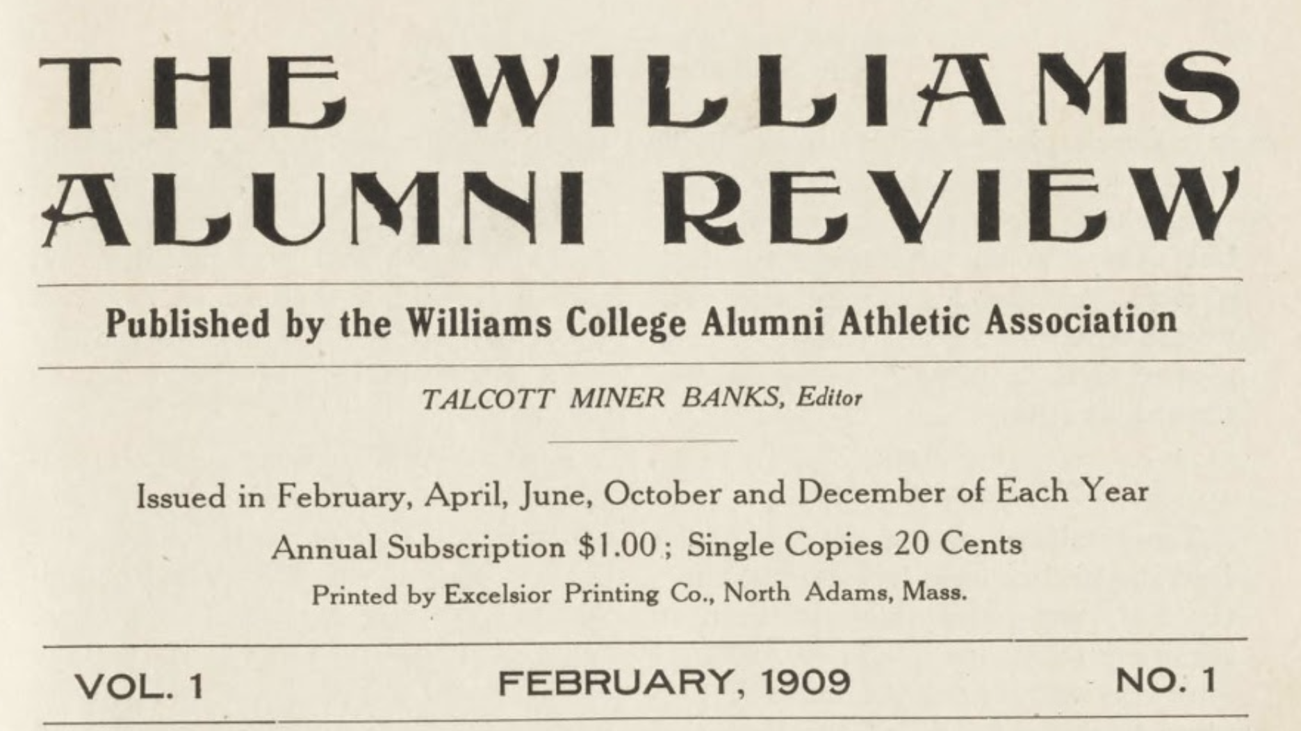 A clip of the front page of the February 1909 Alumni Review.