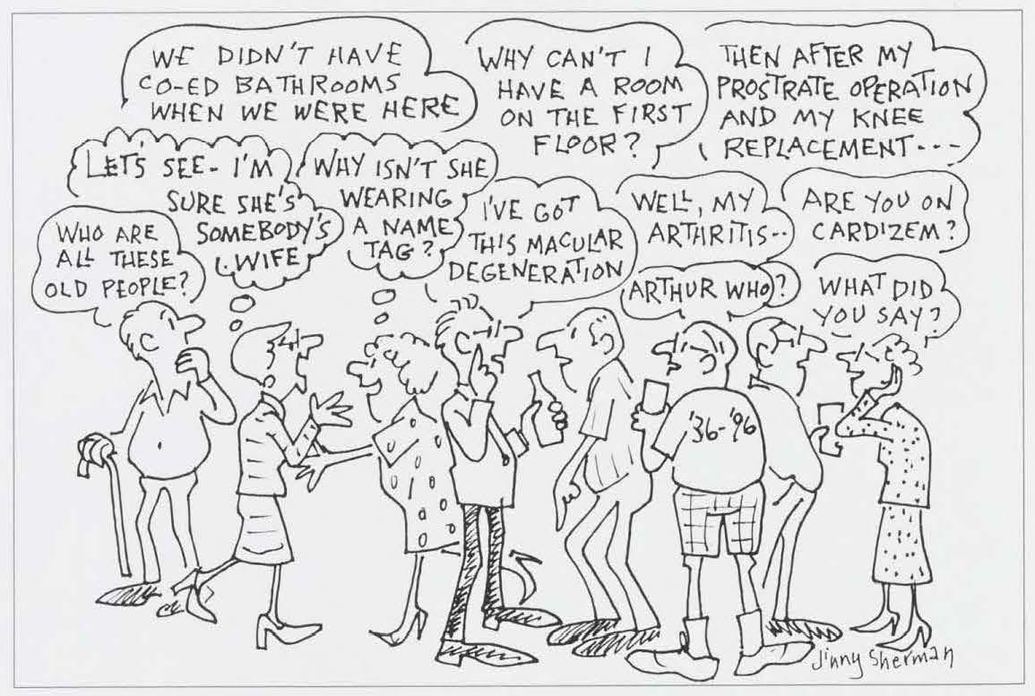 Summer 1996 Alumni Review, reunion cartoon by Jinny Sherman, wife of Richard Sherman '36