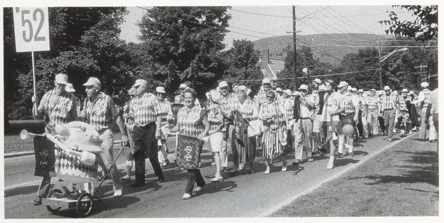 Alumni Review 1992 3 Summer - 1952 conservative flamboyance reunion attire and paper mache bugler