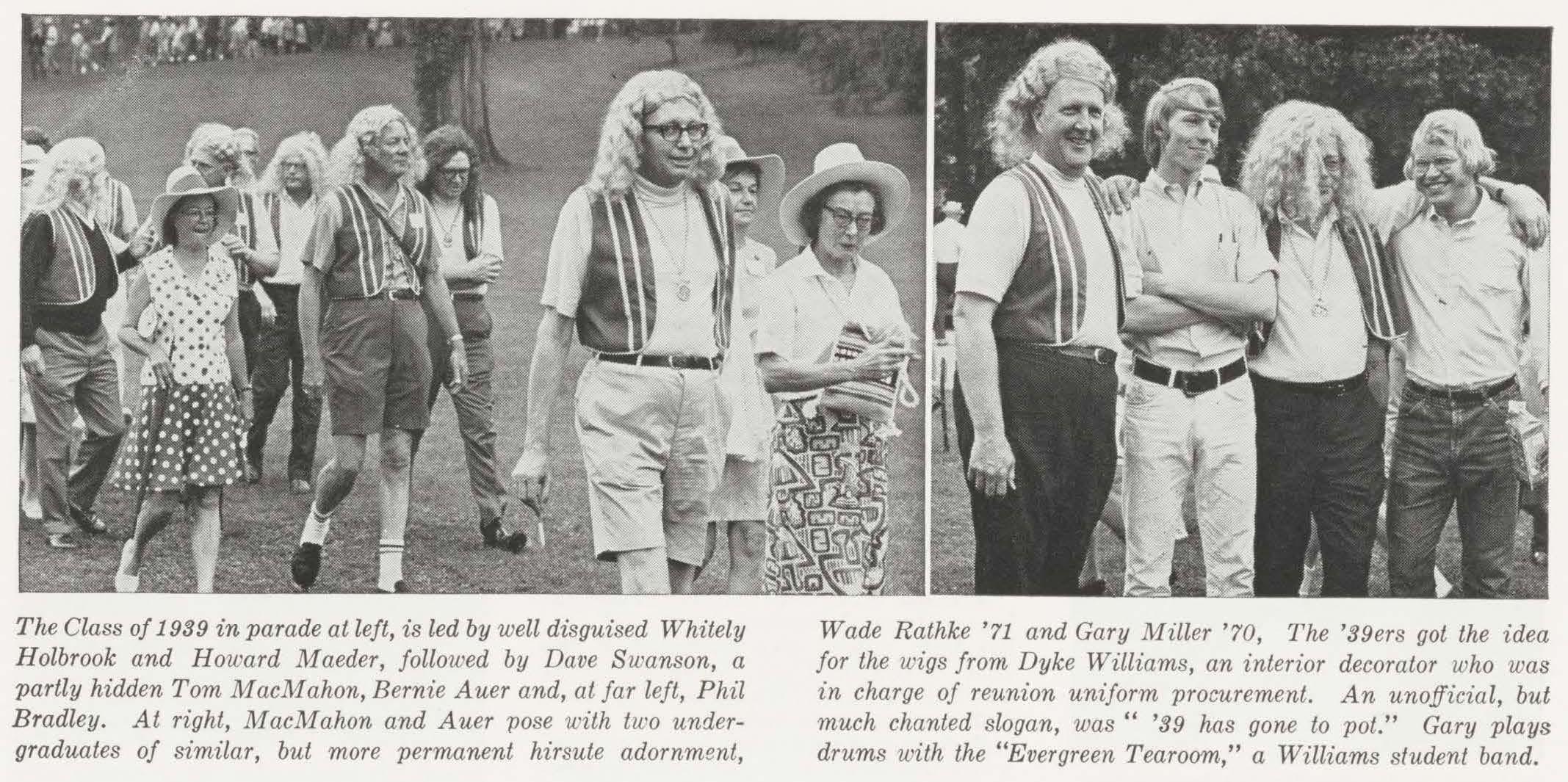 Alumni Review 1969 3 Summer - 1939 reunion costume is hippie wigs