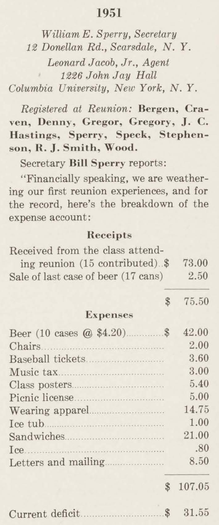 Alumni Review 1952 07 - 1951 1st reunion expense breakdown