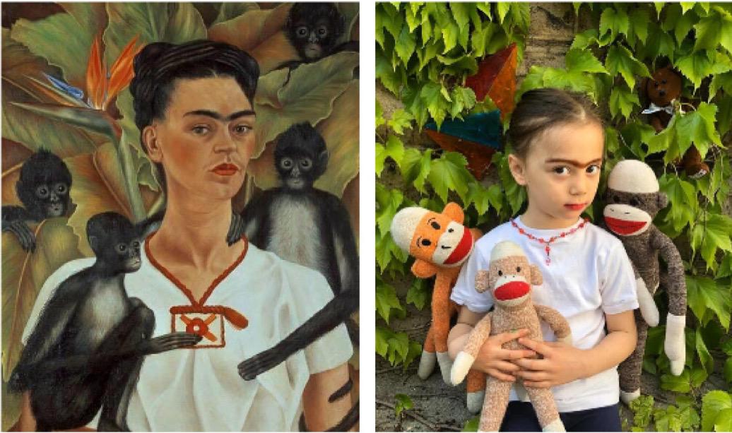 Frida Kahlo, Self Portrait with Monkeys, 1943. Recreated May 3, 2020