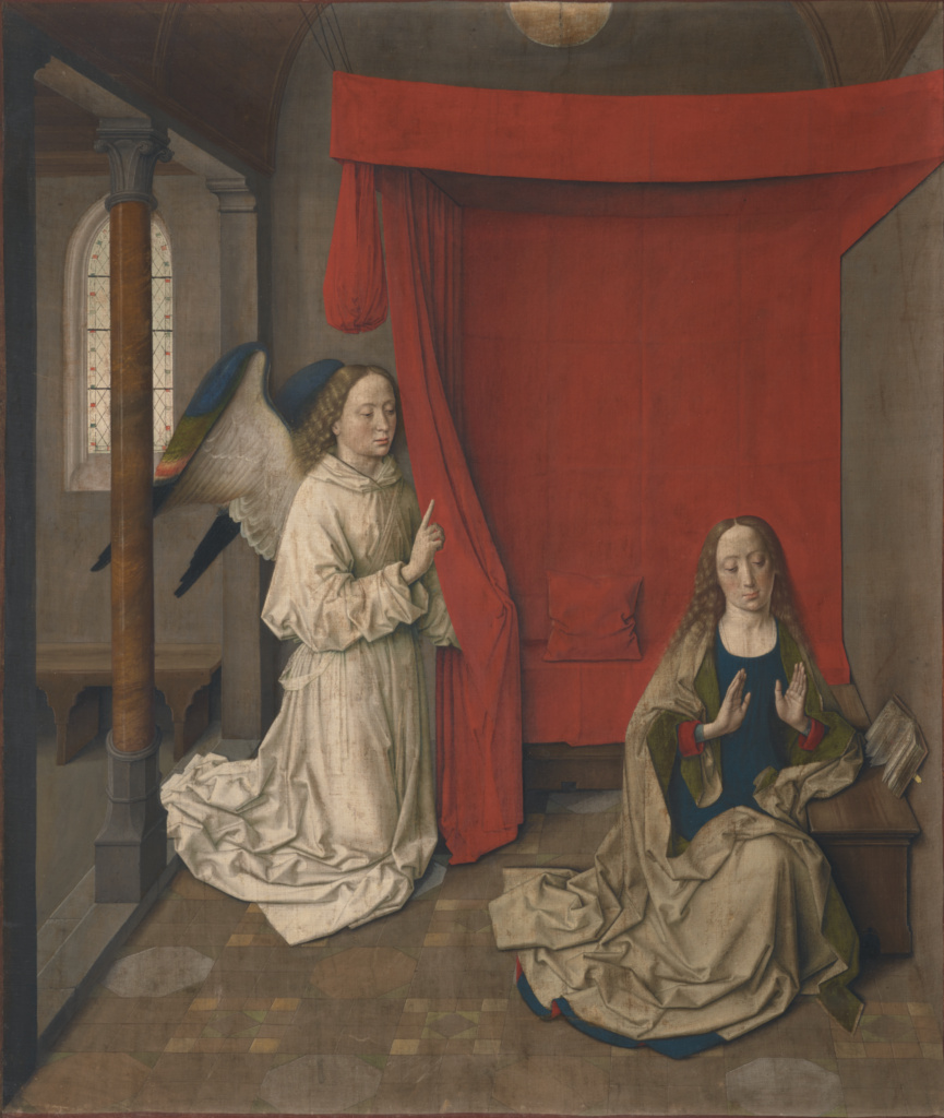 Dieric Bouts, The Annunciation, about 1450-1455. Recreated April 24, 2021.