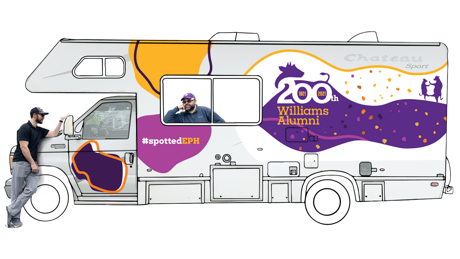 graphic of an RV covered in bicentennial spots and logo, with one person staring out a window and another leaning against the hood