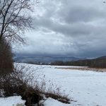 Snowy view of the Purple Mountains