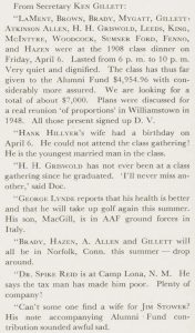 A clip from the May 1945 Alumni Review from E. K. Gillett.