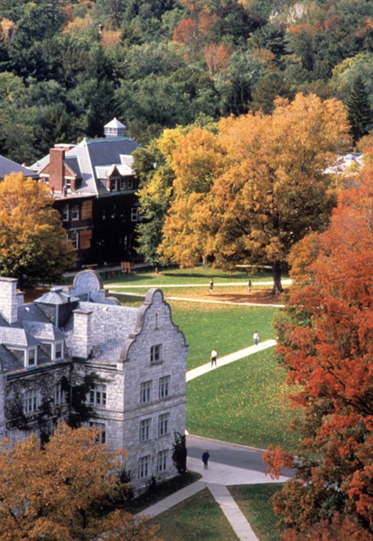 Williams Science Quad in fall foliage