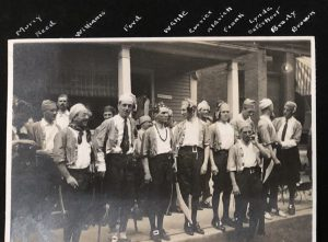 Black and white photo of men from the class of 1908 dressed as pirates at their fifth reunion.