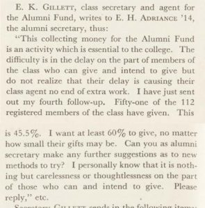 A clip from the May 1937 Alumni Review about E. K. Gillett.