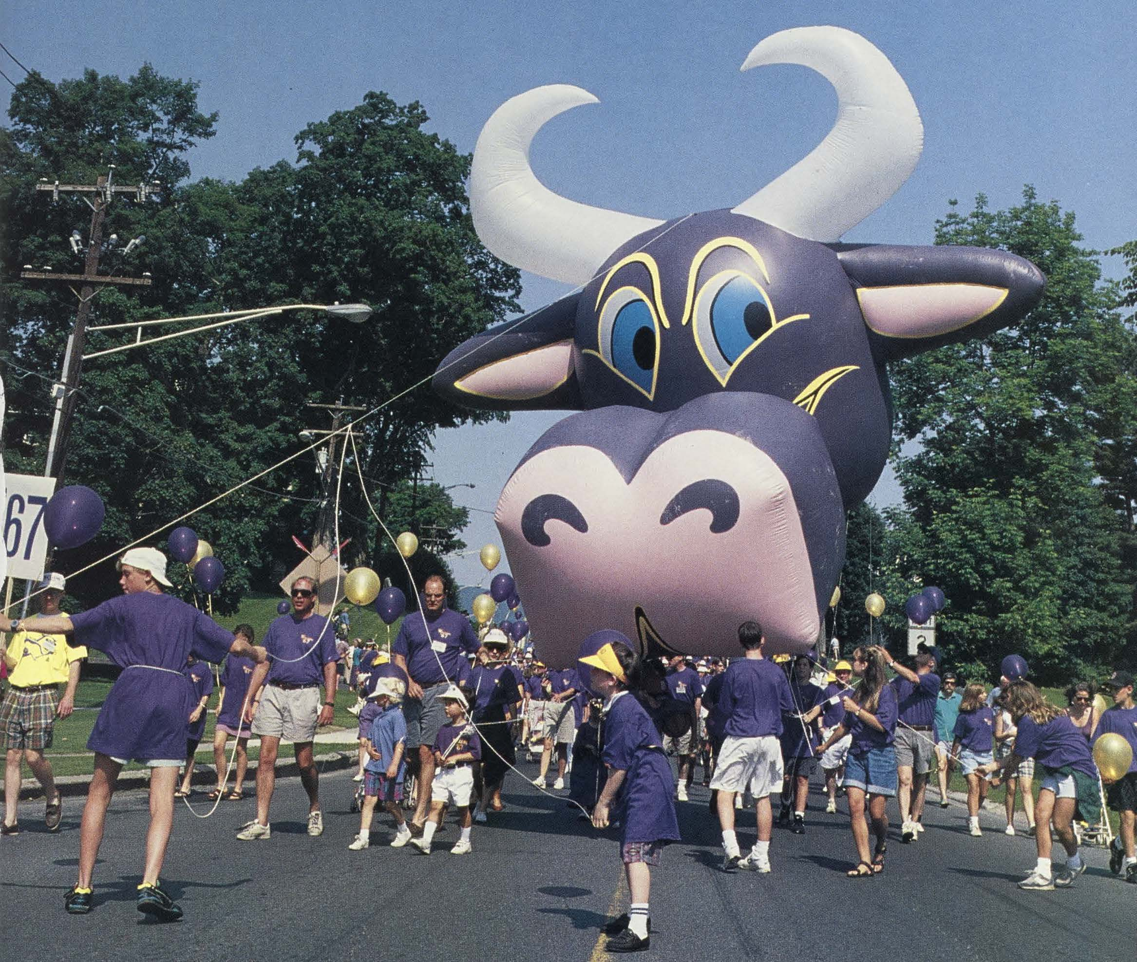 An giant purple cow balloon is carried down the street by parade volunteers wearing purple shirts.