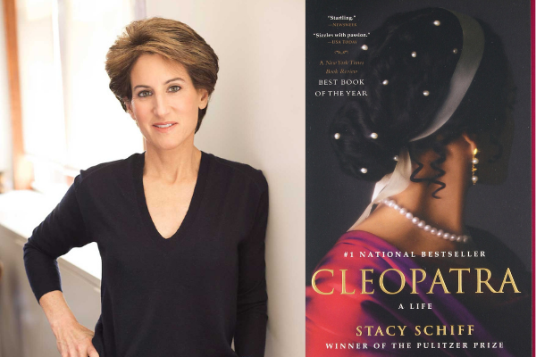 Stacy Schiff, Author of Cleopatra with Book Cover