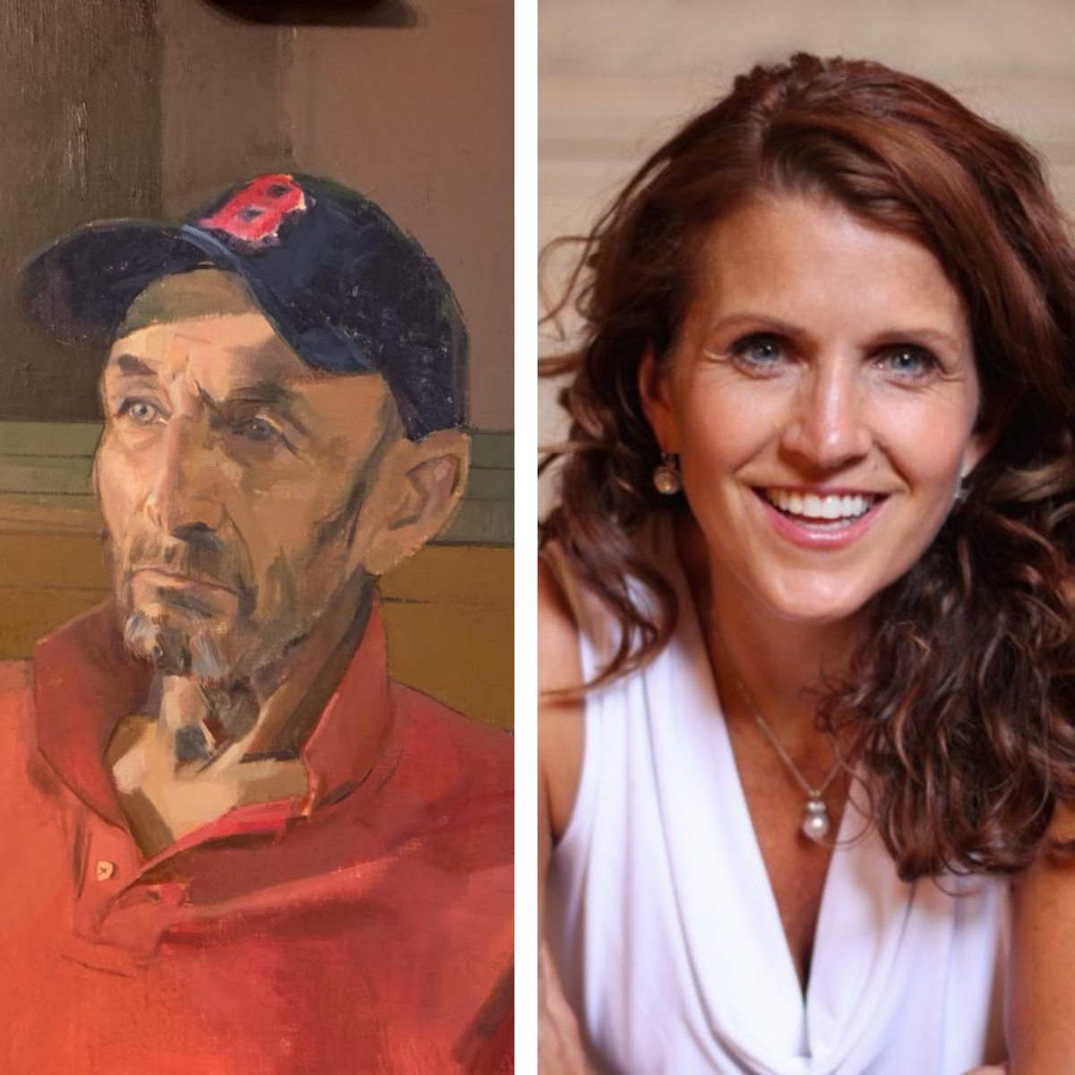 portrait of a man wearing a basecall cap on the left and photo of a woman with long curly hair smiling on the right