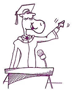 sketch of cow at podium