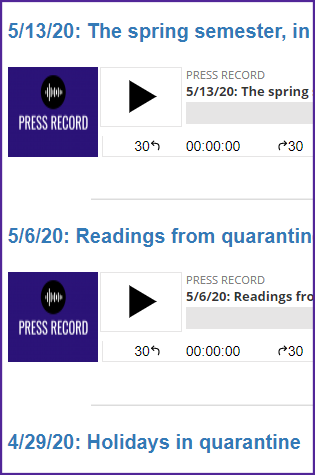 Screenshot of podcast listings from Press Record